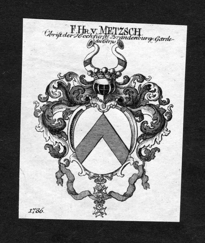 1820 - Metzsch Wappen Adel coat of arms heradlry Heraldik Kupferstich