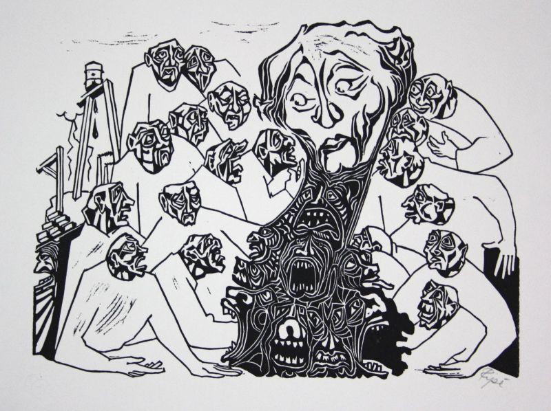 1974 Hermet Ripe Krisenpilz Pilz Linolschnitt signiert Grafik