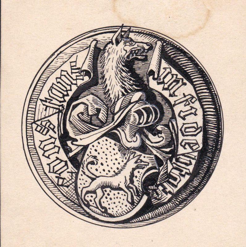 Ca. 1920 Konstanz Wappen Heraldik Wolf coat of arms Zeichnung drawing