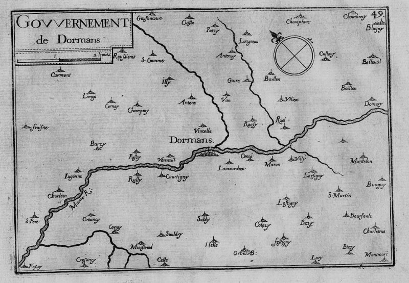 1640 - Dormans Marne Champagne-Ardenne map carte gravure Kupferstich Tassin