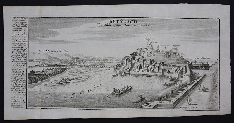1700 Breisach am Rhein Gesamtansicht Kupferstich Bodenehr
