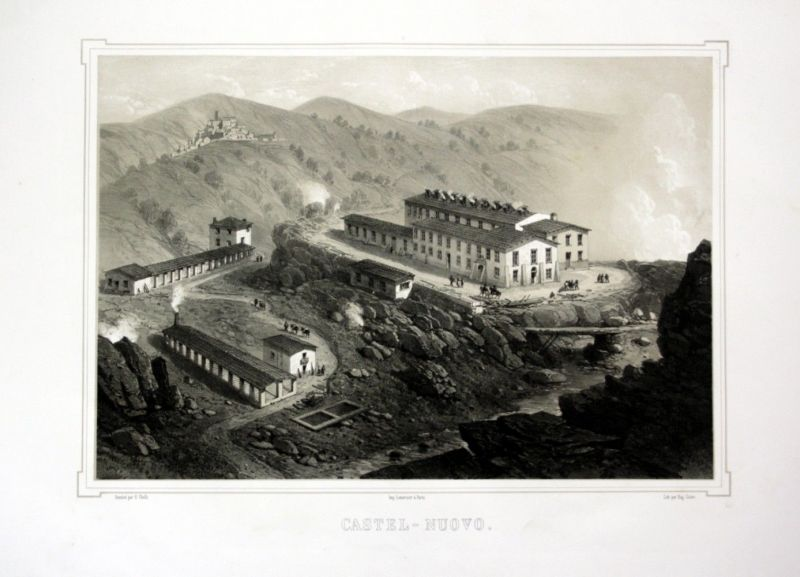 Ca. 1860 Castelnuovo Tuscany Toskana Italia Ansicht veduta Lithographie Litho