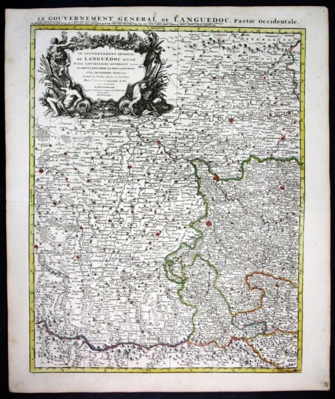 1730 Languedoc Toulouse Montauban Alby Cahors Albi Agen map Karte Covens Mortier