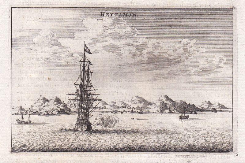 Heytamon Schiff ship Asia China Ansicht view Kupferstich antique print Nieuhof