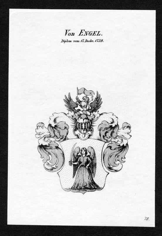 1820 - Engel Wappen Adel coat of arms heraldry Heraldik Kupferstich