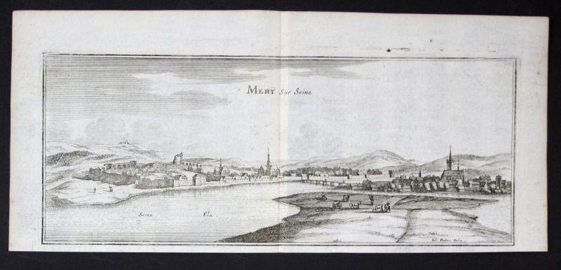 1650 - Mery-sur-Seine Aube gravure estampe Kupferstich Merian engraving