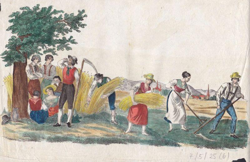 Ca. 1840 Getreide Ernte Bauern Farm farming farmers Lithographie Bilderbogen