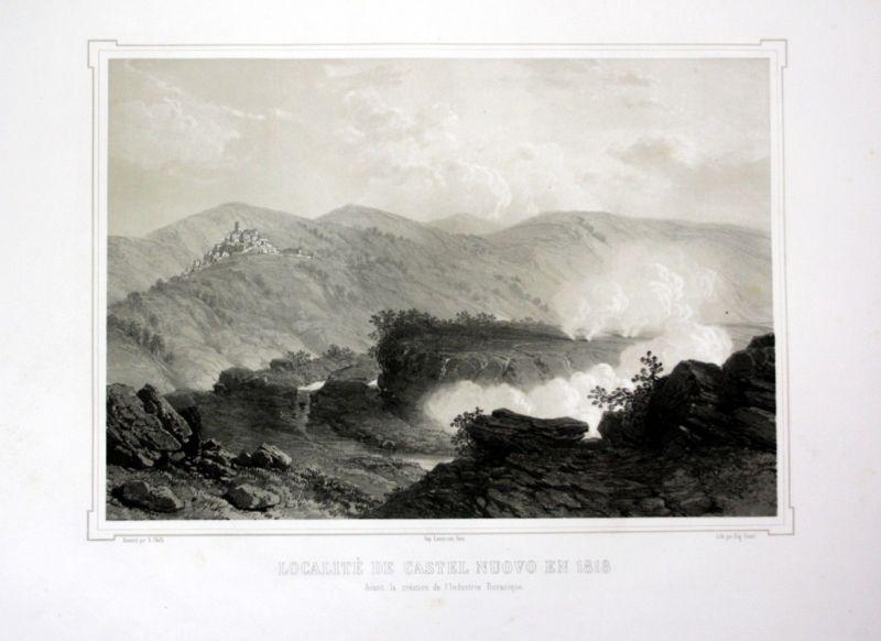 Ca. 1860 Castelnuovo Tuscany Toskana Italien Ansicht veduta Lithographie Litho