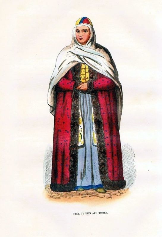 1845 - Siberia Sibirien Tomsk Trachten Holzstich costumes antique print
