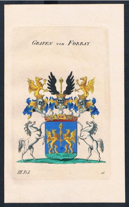 1830 - Grafen von Forray Wappen Kupferstich Genealogie Heraldik coat of arms
