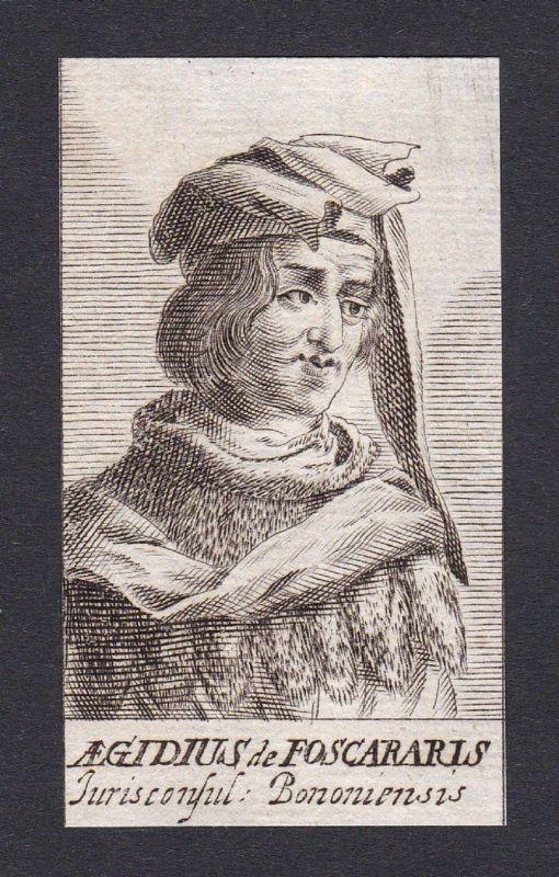 17. Jh. - Aegigius de Fuscarariis / lawyer Jurist Bologna Portrait Kupferstich