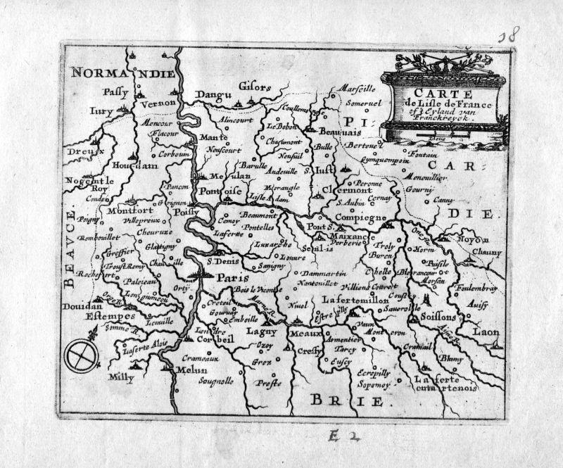 1666 - Ile de France Paris Soissons Melun gravure estampe Kupferstich