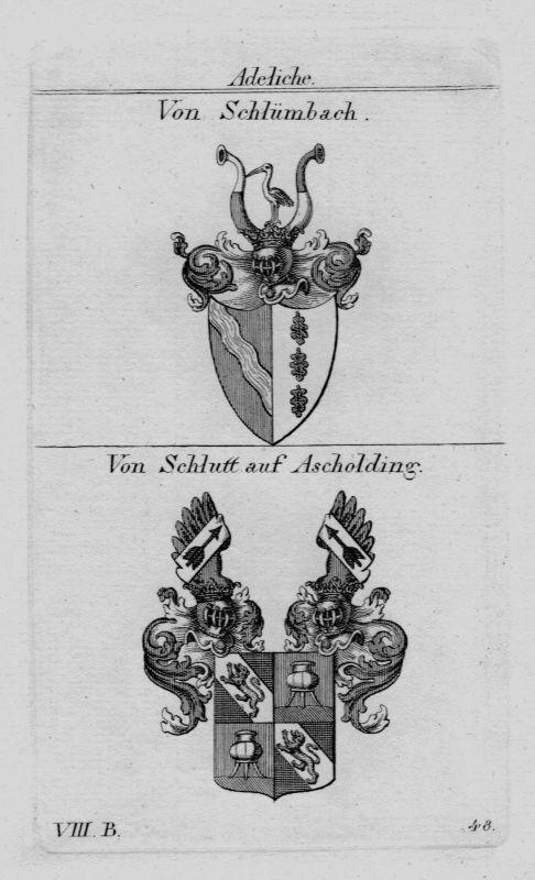 1820 - Schlümbach Schlutt Ascholding Wappen coat of arms heraldry Kupferstich