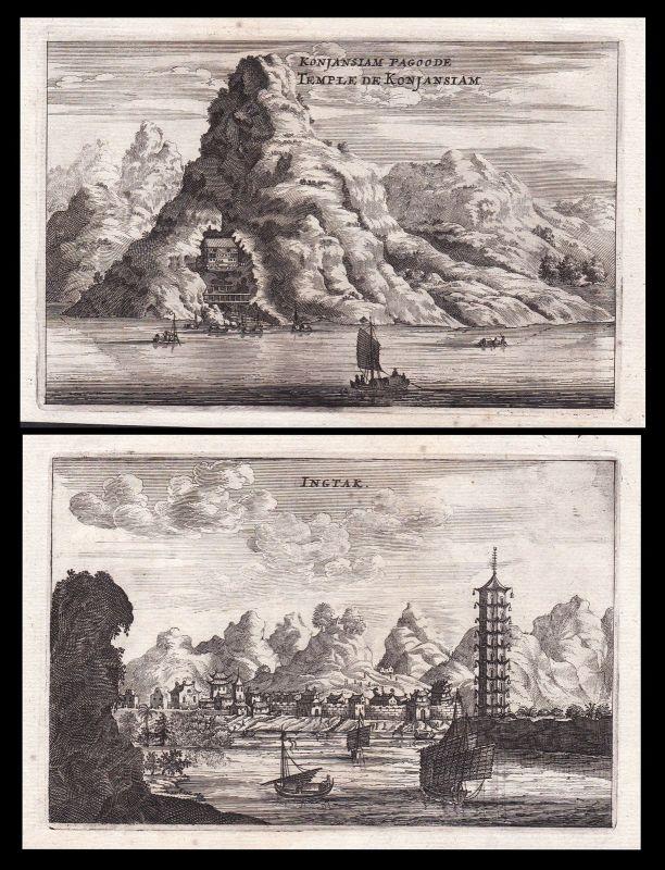 China Asia Asien Pagode pagoda Ansicht view Kupferstich antique print Nieuhof