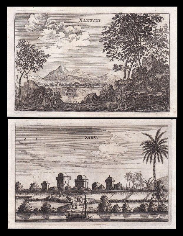 1670 Sahu Sanshui Guangdong China Ansicht view Kupferstich antique print Nieuhof