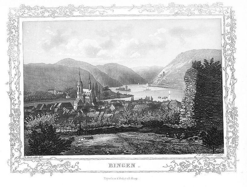 1850 - Bingen Gesamtansicht Original Aquatinta aquatint antique print