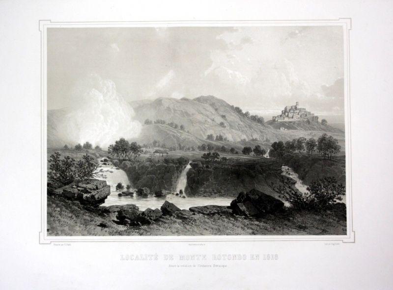 Ca. 1860 Monterotondo Toskana Tuscany Ansicht veduta Lithographie Litho 110532