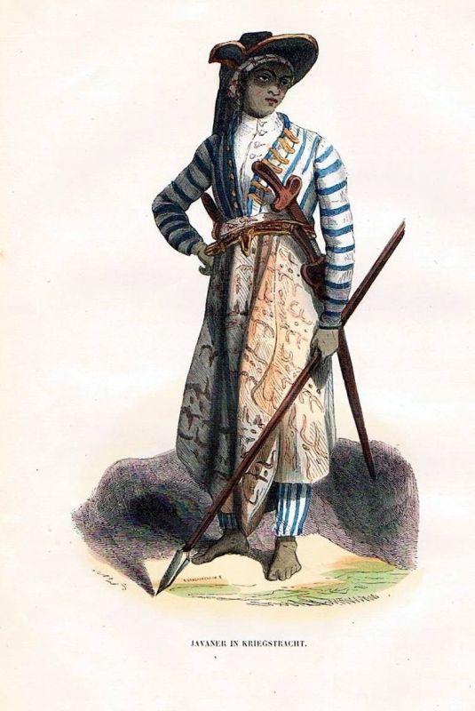 1845 Java Jawa Indonesia Indonesien Trachten Holzstich costumes antique print