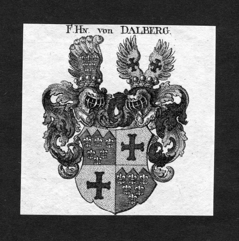 1820 - Dalberg Wappen Adel coat of arms heraldry Heraldik Kupferstich