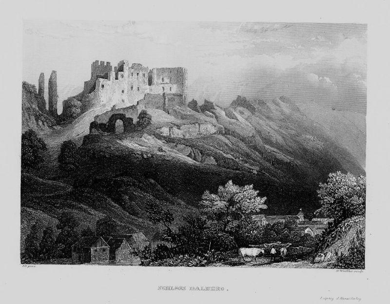 1840 - Schloss Dalberg Kühe Bad Kreuznach Rheinland-Pfalz Original Stahlstich