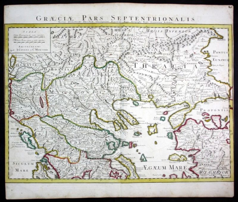 Ca. 1730 Greece Turkey Griechenland Türkei map Karte Covens Mortier engraving