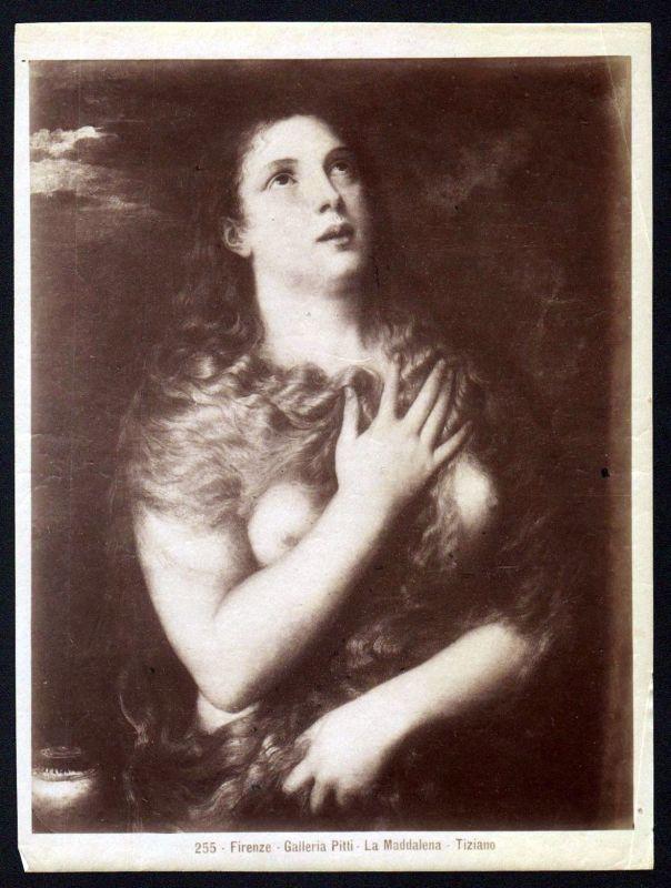 Ca. 1880 La Maddalena Tiziano Galleria Pitti Firenze albumen Foto photo vintage