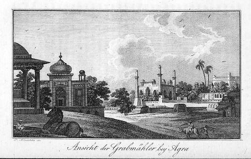 1820 - Agra Yamuna India Indien map Asia Original Kupferstich