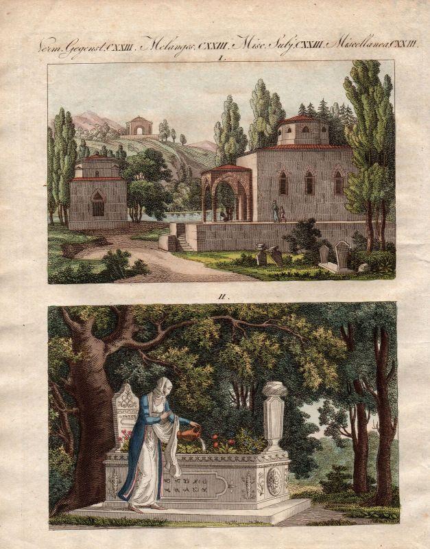 Grab tomb Gräber tombs Türkei Turkey Bertuch Kupferstich antique print 1800
