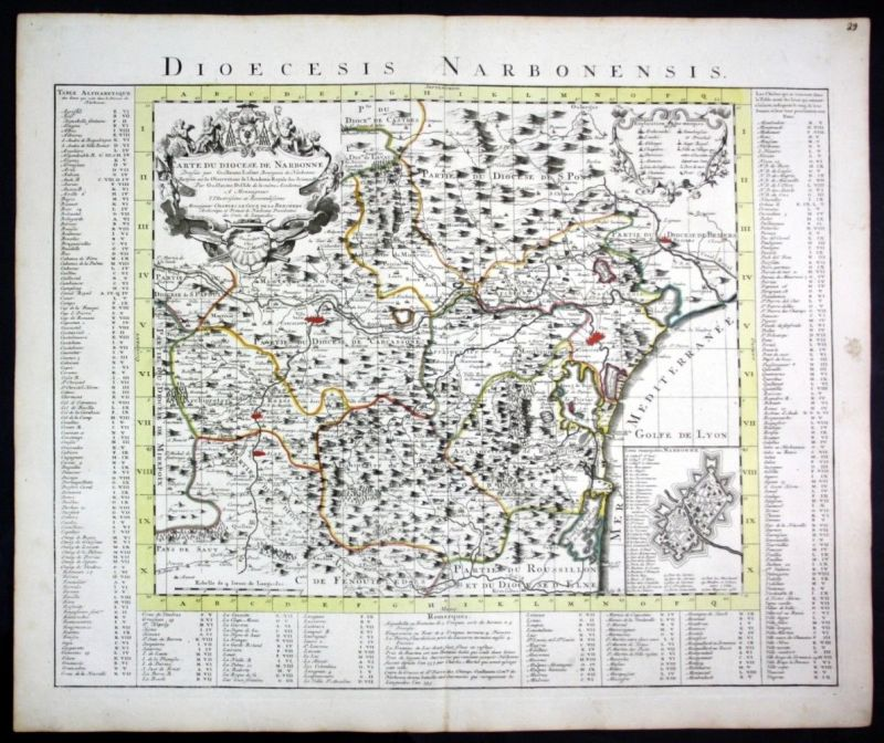 Ca. 1730 Narbonne Carcassonne Beziers Limoux Leucate map Karte Covens Mortier
