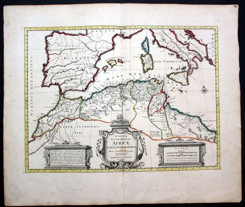 Ca. 1730 North Africa Italy Sicilia Spain Sardegna map Karte Covens Mortier