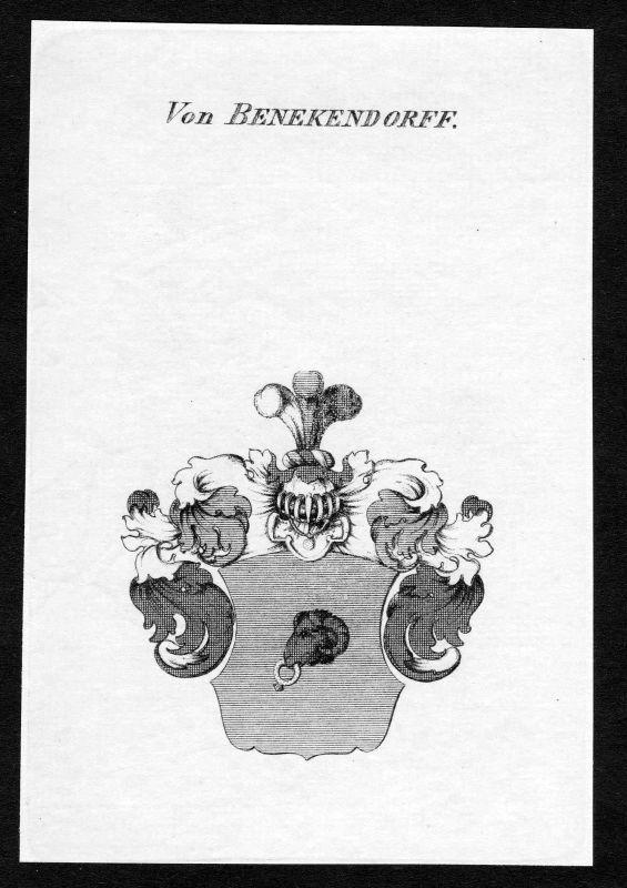 1820 - Beneckendorff Wappen Adel coat of arms heraldry Heraldik Kupferstich