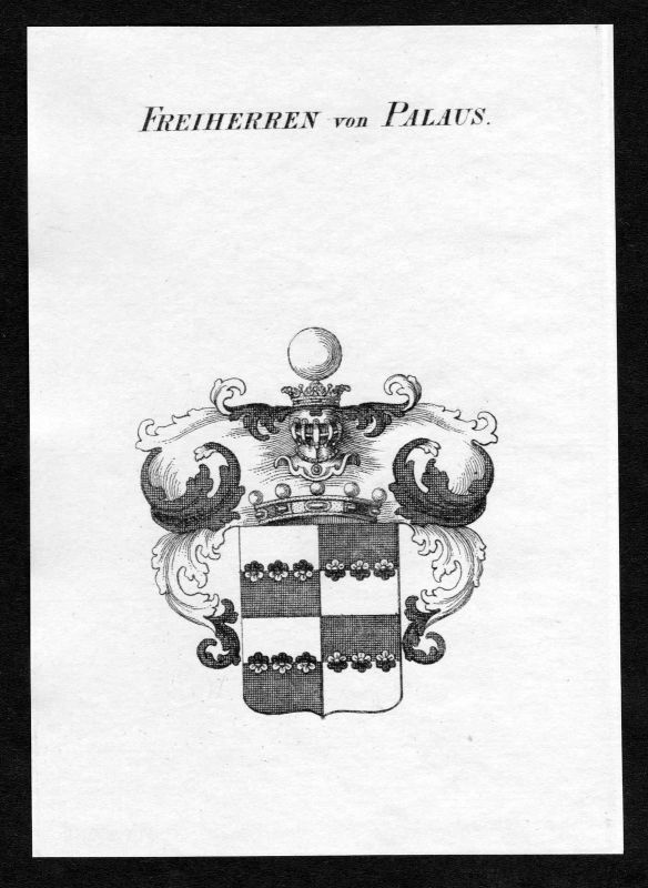 Ca. 1820 Palaus Wappen Adel coat of arms Kupferstich antique print heraldry