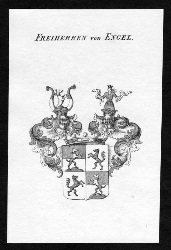 Ca. 1820 Engel Wappen Adel coat of arms Kupferstich antique print heraldry
