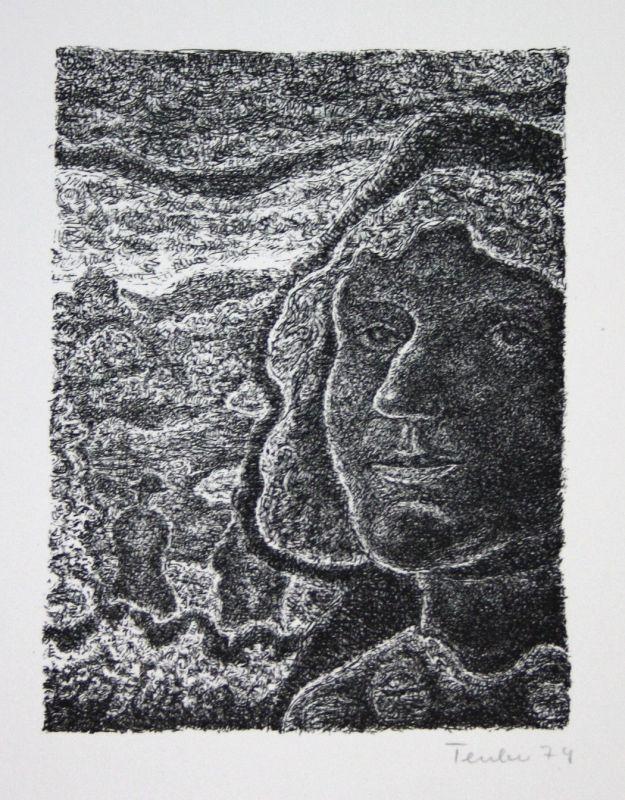 1975 Gottfried Teuber Porträt mit Landschaft Lithographie signiert Grafik