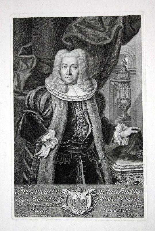 1738 Friedrich Ernst Finckler Wertheim Portrait Kupferstich Windter engraving