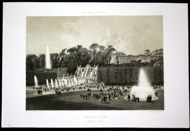 Ca. 1860 Parc de Saint Cloud Chateau cascade Paris Lithographie lithograph