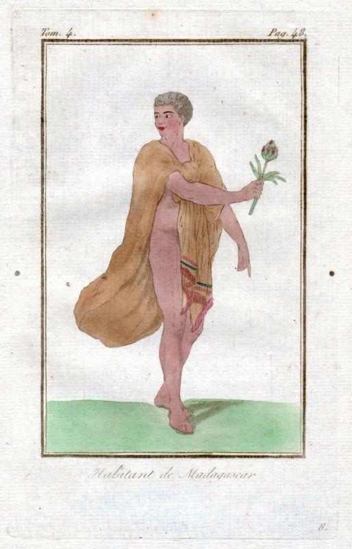 1780 Madagaskar Madagascar costume Trachten Kupferstich antique print