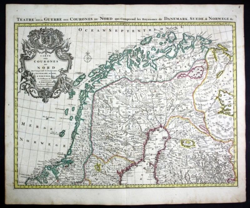 Ca. 1730 Scandinavia Sweden Norway Finland map Karte Covens Mortier Kupferstich