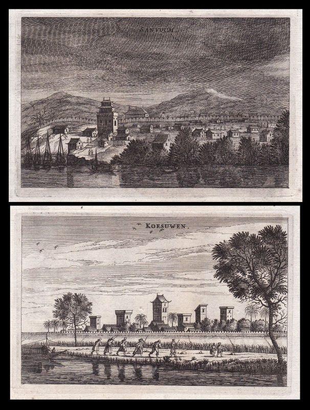 1670 China city Stadt mountains Ansicht view Kupferstich antique print Nieuhof