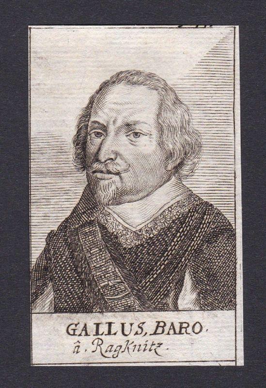 17. Jh. Gallus Freiherr von Racknitz consultant Kammerherr Portrait Kupferstich