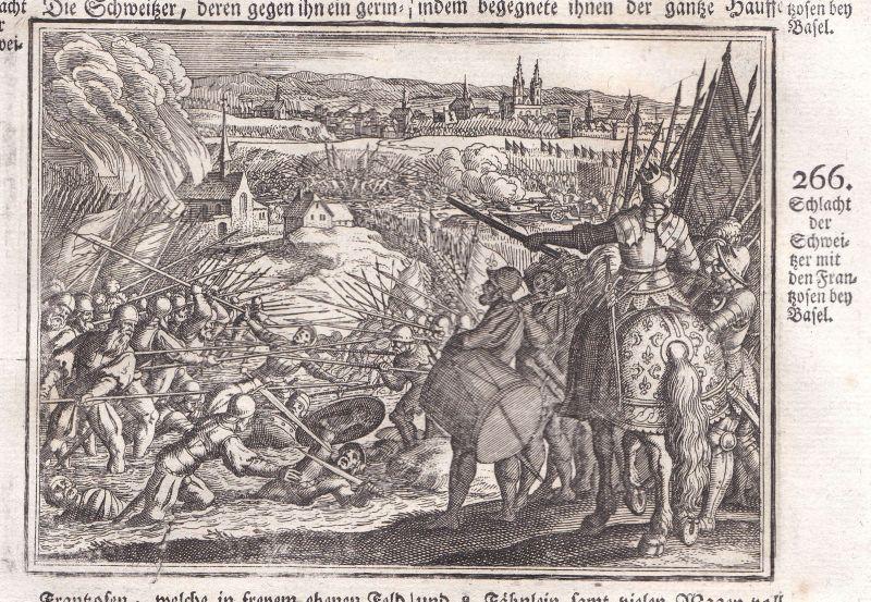 Ca. 1700 Basel Schlacht battle bataille gravure Kupferstich antique print Merian