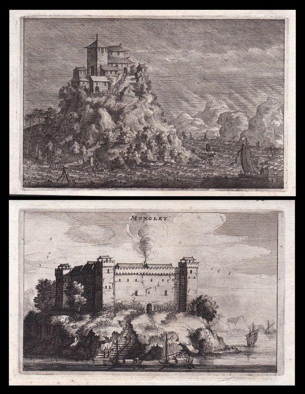 1670 China Asia Asien castle Burg Schiffe view Kupferstich antique print Nieuhof