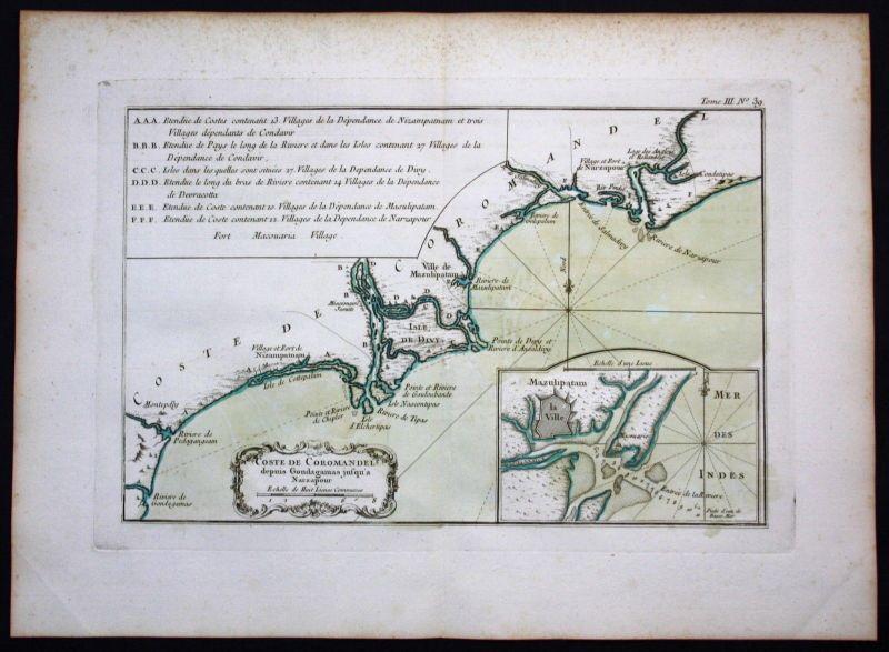 1764 - Coromandel India Machilipatnam Narsapur Indien Bellin antique map