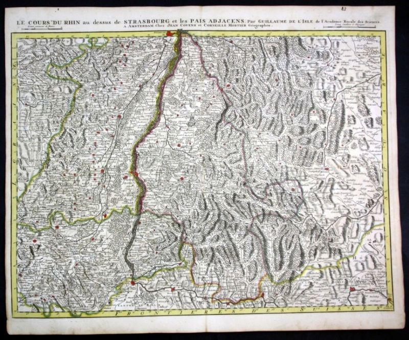 Rhein Rheinlauf Strasbourg Breisach Basel Schaffhausen map Karte Covens Mortier