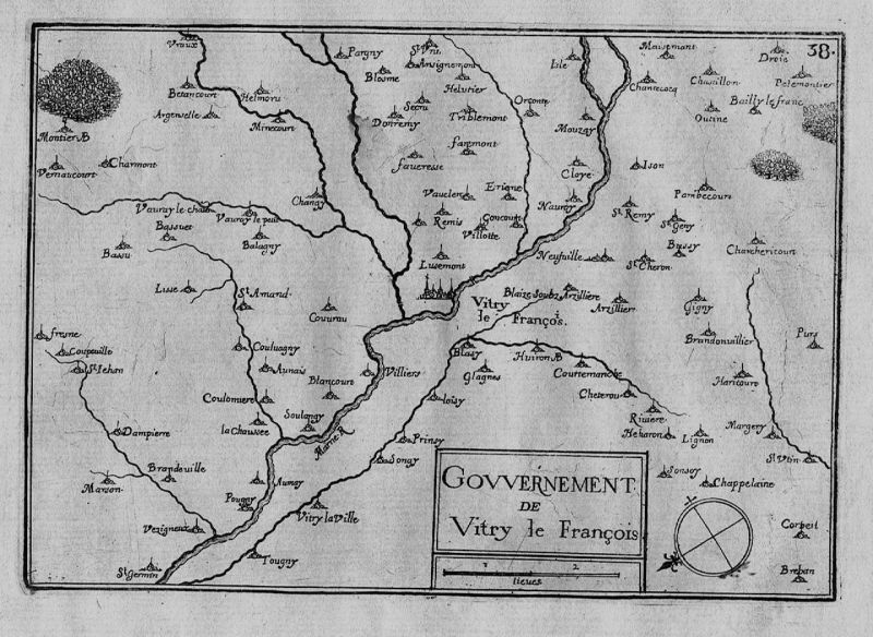 1640 - Vitry-le-Francois Marne Champagne- Ardenne map gravure Kupferstich Tassin
