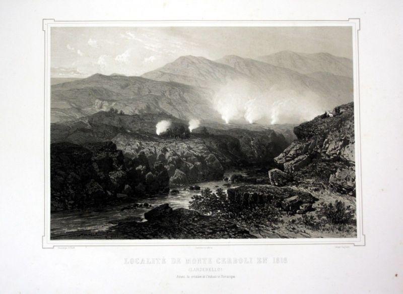 Ca. 1860 Montecerboli Toskana Toscana Italia Ansicht veduta Lithographie Litho