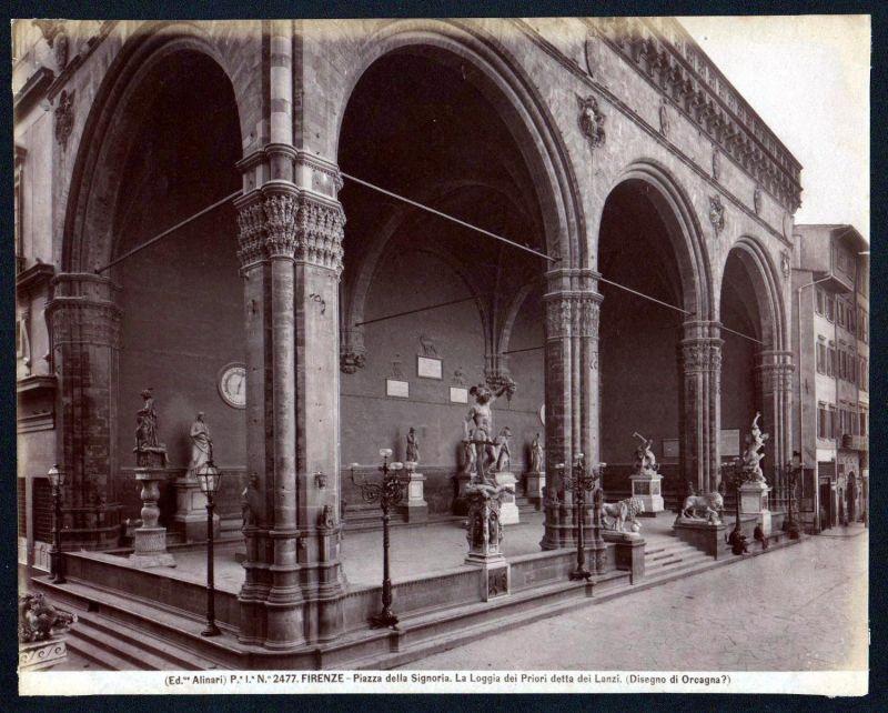 Ca. 1880 Piazza della Signoria Firenze Lanzi Alinari albumen Foto photo vintage