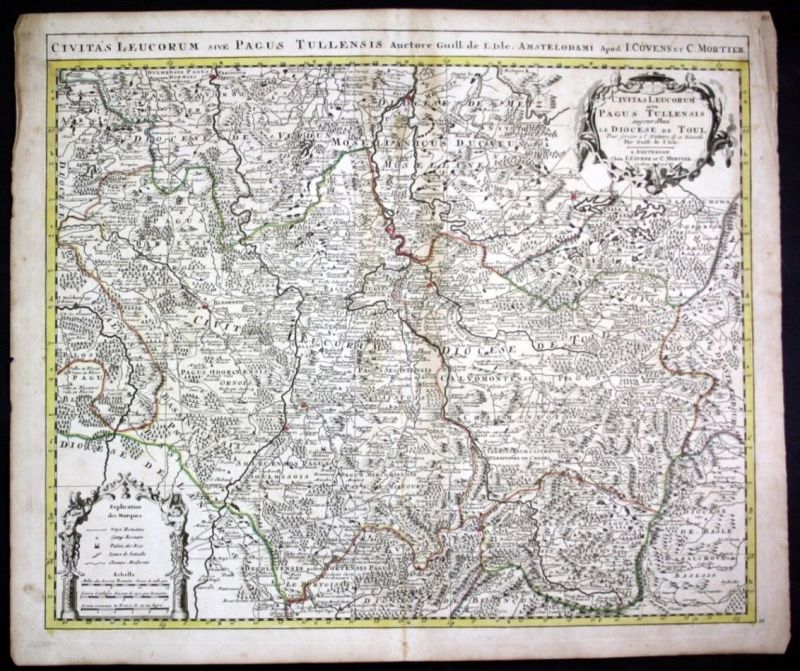 Ca. 1730 Toul Nancy Verdun Metz Dieuze map Karte Covens Mortier gravure