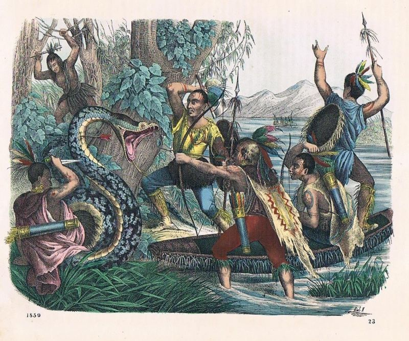1859 - Indianer Schlangenjagd indians Amerika America Lithographie lithograph