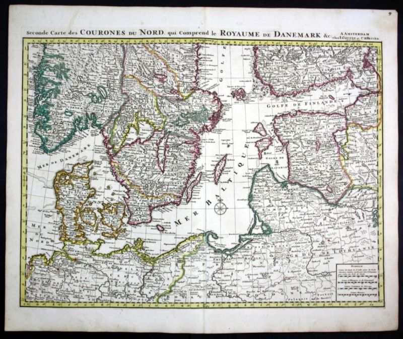 Ca. 1730 Denmark Estonia Latvia Lithuania Poland map Karte Covens Mortier